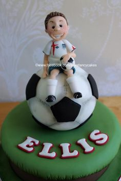 Football cake - more cake ideas at https://www.facebook.com/zoesfancycakes