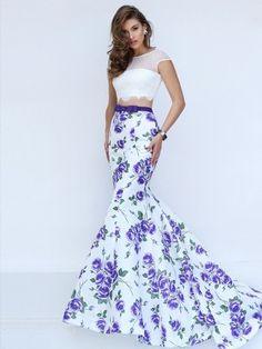 Trumpet/Mermaid Bateau Short Sleeves Sweep/Brush Train Satin Lace Two Piece Dresses - Prom Dresses