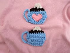 Cute Little Crafts: Free Crochet Pattern: Coffee Cup Applique -- these will go perfect on my mug cozies!!!