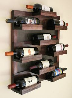 Stunning 9 Bottle Wine Rack with Decorative Mesh by TheKnottyShelf