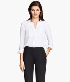 Blouse (white) Product Detail | H&M US