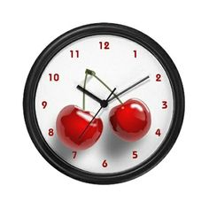 Cherries Kitchen Clock from Cafe Press Cherry Kitchen Decor, Retro Kitchen Decor, Kitchen Themes, Diy Kitchen, Vintage Kitchen, Fiesta Kitchen, Summer Kitchen, Kitchen Ideas, Cherry On Top