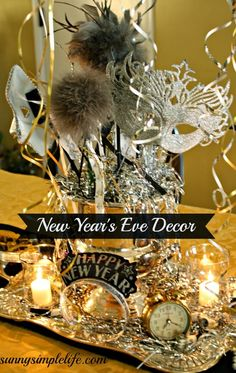 Ideas for decorating your home and table for a New Year's Eve party.