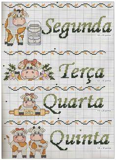 Cow motifs 2 of 2 - free cross stitch pattern Cross Stitch Cow, Cross Stitch Kitchen, Cross Stitch Animals, Cross Stitch Charts, Cross Stitch Patterns, Animal Crackers, Cross Designs, Cute Images, Christmas Cross