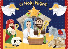 A bright a cheery Nativity scene decorates this placemat for little ones. This is a fun piece that children will look forward to rediscovering each year!