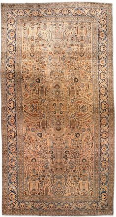 An early 20th century Persian Khorassan carpet, the beige field with an allover pattern of decorative vases ...