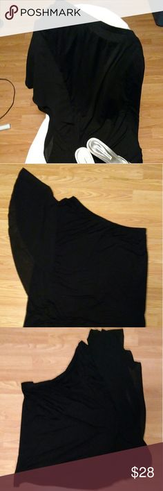 Lane Bryant Flutteru One Arm Black Top BNWOT. One arm fluttery top. 95% rayon, 5% Spandex. Feel free as a bird while one arm hangs loose and the other flows with the breeze. Tagged 26/28. Lane Bryant Tops