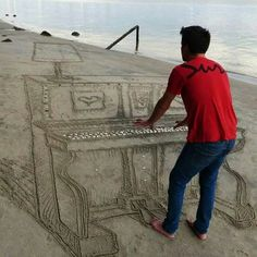 Piano man Optical Illusion Photos, Cool Optical Illusions, Perspective Photos, Forced Perspective, Cool Pictures, Cool Photos, Funny Pictures, Random Pictures, Piano Pictures
