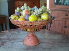 Metal compote with stone fruit - from Country Treasures Antiques
