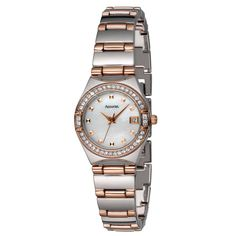 Accurist Ladies rose gold and silver tone stone set bracelet watch- at Debenhams.com - LB1663P.01