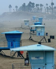 Beach Photography  Lifeguard Towers in the Fog  by JimAmosPhotos22, $25.00 #cali #beach #ocean #calilife #beachlife #bikini #tan #tanning #spraytan #beautiful #travel #vacation #holiday  |  konatans.com