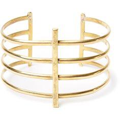 Bauxo Serve Bracelet ($58) ❤ liked on Polyvore featuring jewelry, bracelets, gold, yellow gold jewelry, gold bangles, gold jewellery and gold jewelry