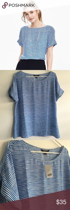 Banana Republic Stripe Top Retail. Blue and white stripe. 100% polyester. Lightweight. Falls below the waist. Rounded neckline. Rolled sleeves. Brand new. Banana Republic Tops