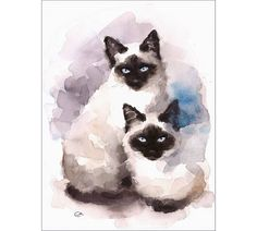 Siamese Cats  Original Watercolor Painting 9 x 12 inches Pets