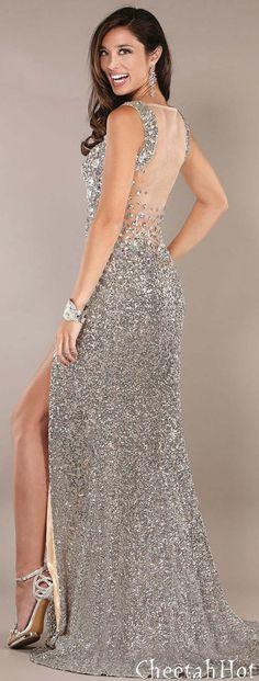JOVANI - Sleek & Silvery Gown