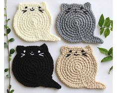 Cat Face Coasters set of 6 Crochet Cat Head Coasters Etsy Chat Crochet, Crochet Video, Crochet Home, Easy Crochet, Crochet Lion, Double Crochet, Easy Knitting Projects, Crochet Projects, Crochet Coaster Pattern