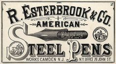 Esterbrook's Steel Pen Advertising- Post on oncenewvintage.com  #typehunter
