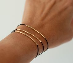 14k solid gold beaded bracelet by Vivien Frank Designs. Friendship bracelet.