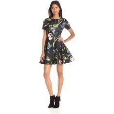 Ted Baker Women's Moven Floral Short-Sleeve Skater Dress ($210) ❤ liked on Polyvore featuring dresses, square neckline dress, short sleeve dress, flower print skater dress, ted baker and skater dress