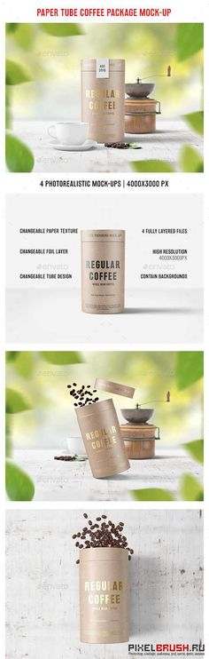 Paper Tube Coffee Package Mock Up - 17540143