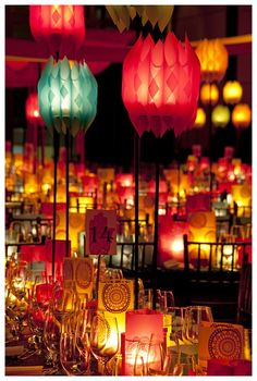 Colour Glamour...Candle Light & Coloured Lanterns