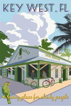 Green Parrot Bar ~ Just Looking Gallery ~ Steve Thomas ~ Key West Key West Florida, Old Florida, Vintage Florida, Florida Travel, Florida Keys, Art Deco Posters, Cool Posters, Steve Thomas, Key West Style