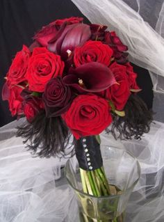 Bride and Bridesmaids Bouquets :  wedding black bouquet bridesmaids red Mybouquet