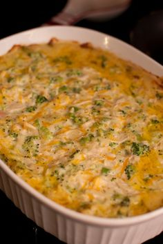 CREAMY CHICKEN & BROCCOLI CASSEROLE Served with  3 chicken breasts, cooked & shredded 2 cans of cream of chicken soup 1 c of mayo 1 c shredded cheddar cheese 1 c colby & monterrey jack cheese 1 bag frozen broccoli,thawed & chopped salt & pepper to taste Combine in 2 quart baking dish baked at 375 degree oven for 30 min.