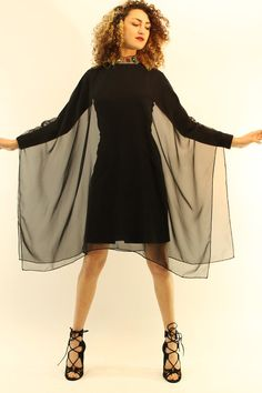 60s Organza Cape Dress Small / 1960s Black by CrushVintageCandy