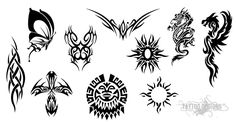 Various Tribal Tattoo Designs On A White Background