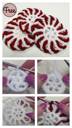 The Peppermint Coasters Free Crochet Pattern is a great way to use up leftover yarn. Crochet Christmas Wreath, Christmas Crochet Patterns, Crochet Ornaments, Holiday Crochet, Christmas Knitting, Crochet Gifts, Crochet Chain, Free Crochet, Crochet Coaster