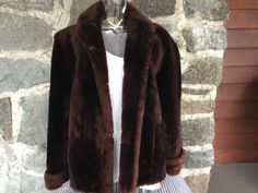 Fake Fur Brown Vintage Coat by VintageKleidoscope on Etsy