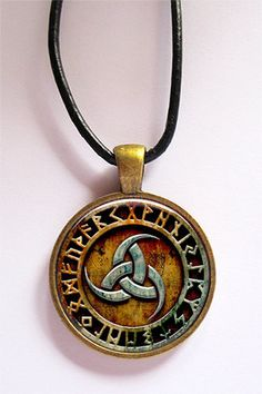 Triple Horn of Odin Rune Circle Bronze Pendant with Leather Cord | KeukaSigns - Jewelry on ArtFire