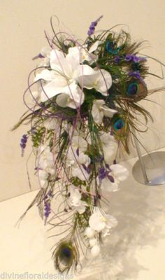 WEDDING FLOWERS, BRIDE PEACOCK FEATHER ORCHID & LILY BOUQUET - ANY COLOUR | eBay