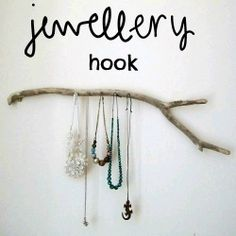 Simple tutorial showing how to turn a piece of driftwood into an attractive way of storing/displaying necklaces.