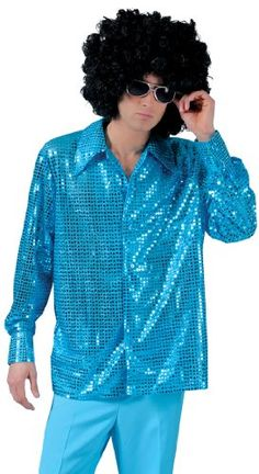 This Cosmic Blue Disco Costume Shirt is made of a bright blue shimmering fabric and features a wide collar and button down front. Matching disco costume pants sunglasses and afro wig available separately. Disco Costume, Costume Craze, 70s Halloween Costumes, Halloween 2020, Disco Shirt, Sequin Shirt, Costume Shirts, Sequin Fabric, Dress Codes