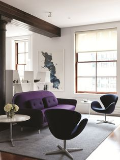 Fritz Hansen Favn sofa and Swan chairs