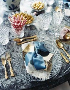 """blue christmas"" table setting"
