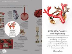 It's undoubtedly a #ProudMoment for the Team at #DecorStory.   Collect your February Issue of The Verve Magazine available at your nearest bookstore; and don't forget to view the Roberto Cavalli Coral Napkin Ring #ComingSoon on www.decorstory.in  #PRArticle #Article #InTheMedia #InTheNews #Magazine #PressRelease #MagazineAdverts #HomeDecor #LuxuryBrands #LifestyleAndLuxury #NapkinRing #Coral #BrightColours #Brands #Sparkle #Delicate #UniqueProduct #Designers #ElegantVibe