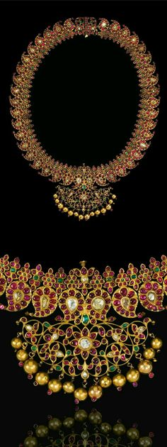 India ~ Tamil Nadu | Diamond, ruby and emerald set gold 'Manga Malai' necklace | 19th century