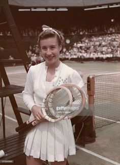 Maureen Connolly of the United States before the Wimbledon Ladies' Singles Final on 3rd July 1952 in Wimbledon, London, Great Britain.