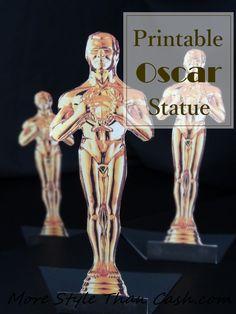 Oscar Party Printable Statue Award