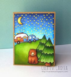 Lawn Fawn Happy Trails; Lawn Fawn Love You S'more; starry sky; moon; emboss resist; night scene; camper