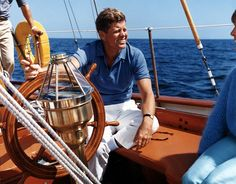 "Sailing aboard the U. S. Coast Guard yacht ""Manitou"" on August 26th, 1962 in Narragansett Bay, Rhode Island. http://www.rosettabooks.com/?s=JFK"
