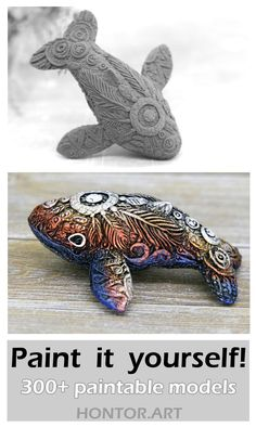 300+ Paintable models of fantasy animals and dragons by Evgeny Hontor. Paint it yourself! Unpainted Totem Figurine. Animal Sculptures are the best for kids diy and crafts projects. This animal figurine can serve as a decor for flower pots, you can also use this as a 3-D coloring. #claytutorial #claycrafts #fantasycreatures #miniatures
