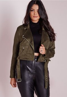 Plus Size Faux Suede Biker Jacket Khaki - Plus Size - Plus Size Coats & Jackets - Missguided