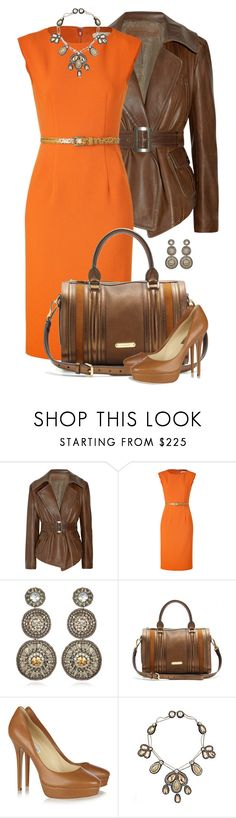 """""""Untitled #192"""" by partywithgatsby ❤ liked on Polyvore featuring Donna Karan, Michael Kors, Suzanna Dai, Burberry, Jimmy Choo, platform heels, sheath dresses, top handle bags, statement necklaces and leather jackets"""