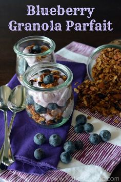 Blueberry Granola Parfait via KatiesCucina.com