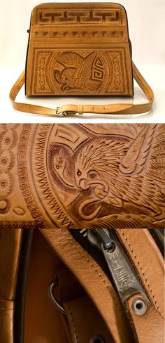 #Rare #Vintage 1970's #Mexican hand carved and #tooled natural light #brown / #camel #leather #bag / shoulder bag // #etsy