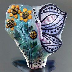 PIKALDA=handmade lampwork 1 glass bead focal flower butterfly=AT NIGHT=SRA